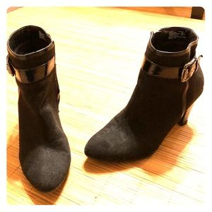 Faux suede ankle boots with buckles